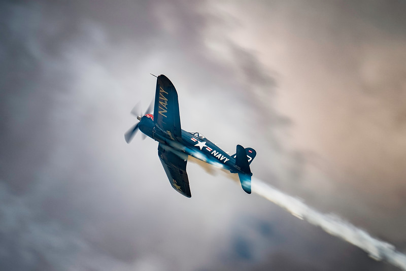 F4U-4 Corsair (OE-EAS) Soaring over Flying Legends Airshow 2018   By David Stoddart