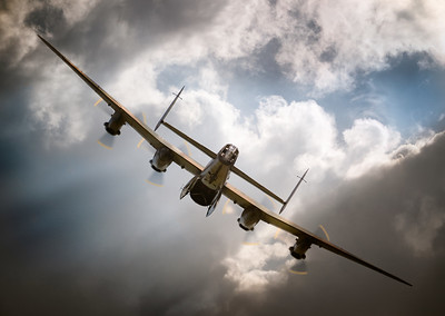 """""""Avro Lancaster PA474"""" shortly before departing Shuttleworth Airshow 2018 with bomb bay doors open!  By David Stoddart"""