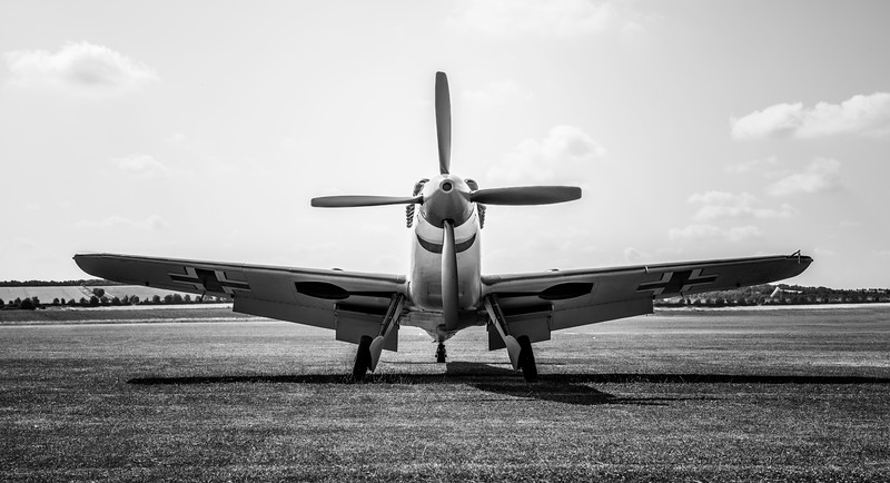 Hispano HA-1112-M4L Buchon Red 11 G-AWHC Twin Seater on the flight line at Flying Legends Airshow 2018  by David Stoddart
