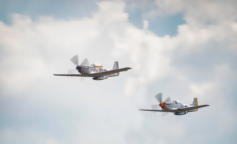 P51D Mustang Trusty Rusty and TF51D Mustang Contrary Mary at Duxford Flying Legends Airshow 2018  By David Stoddart
