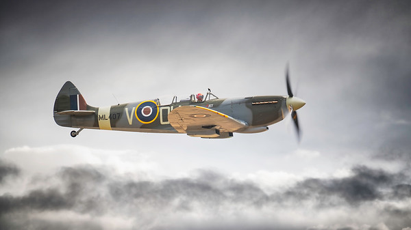 Supermarine Spitfire ML407 The Grace Spitfire above the clouds at Flying Legends Airshow 2018  By David Stoddart