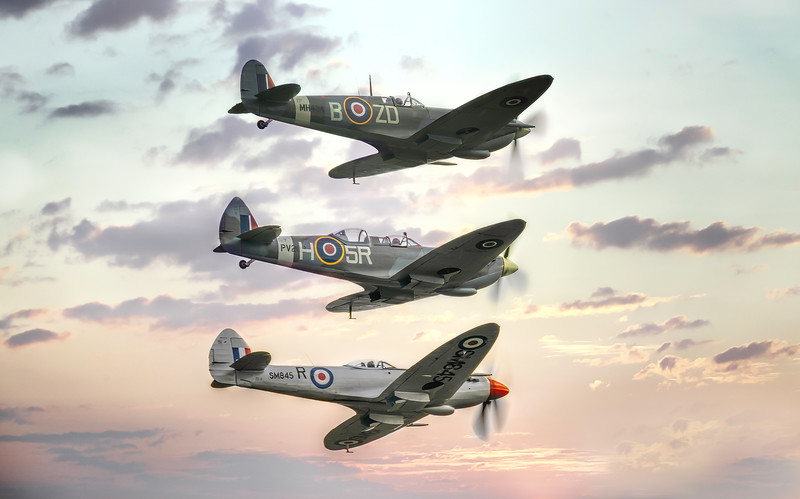 Supermarine Spitfire Formation of Mk IXb MH434 with TR 9 PV202 and FR Mk XVIIIe SM485. By David Stoddart