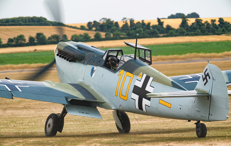 Hispano HA-112 MIL Buchon (G-AWHK) Yellow 10 Taxiing back at Duxford Flying Legends Airshow 2018 By David Stoddart