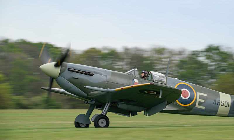 Supermarine Spitfire Mk.V AR501 in RAF 310 Czech Livery Landing At Shuttleworth Airshow 2019  By David Stoddart