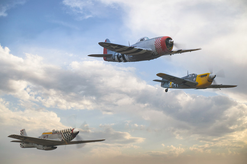 The Thunderbolt The Mustang and The Buchon at Duxford Flying Legends Airshow 2019  By David Stoddart