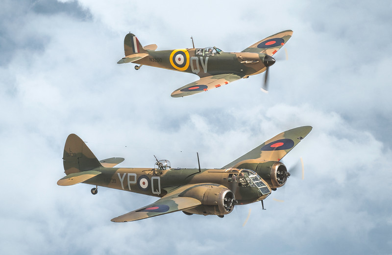 Bristol Blenheim MKI G-BPIV and Supermarine Spitfire N3200 MkIa G-CFGJ By David Stoddart