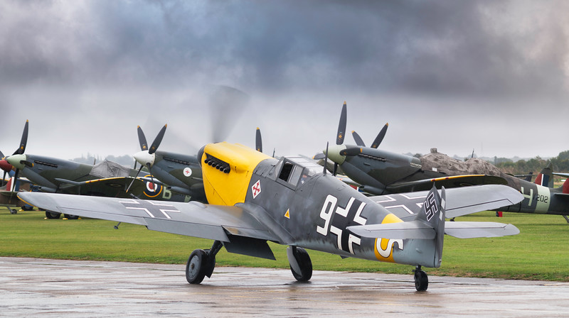 Hispano HA-1112-M4L Buchon White 9 G-AWHH Taxiing at Duxford Battle of Britain Airshow 2018 By David Stoddart