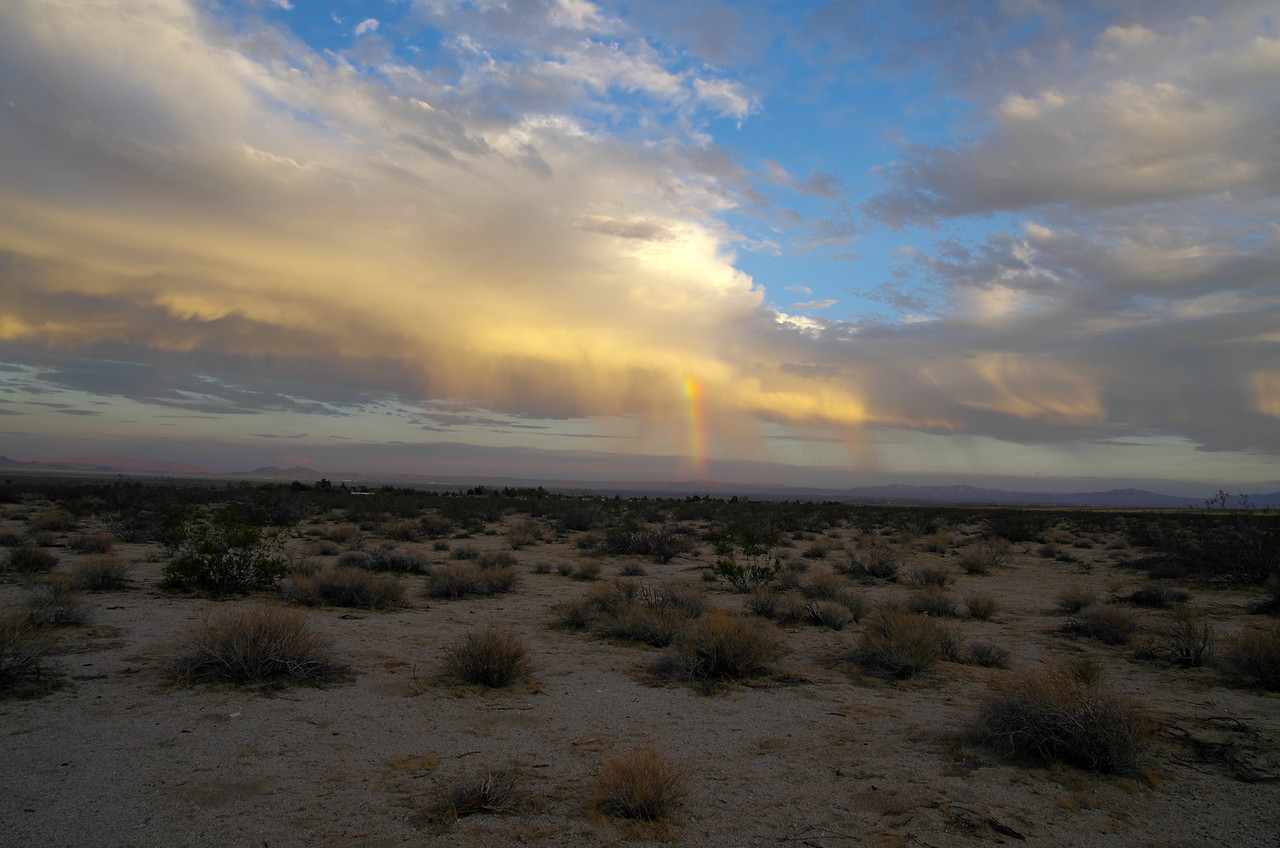 Mojave Rain in the distance.  Taken along Highway 395 near  Coyote Trail Ave, Pearsonville, CA.