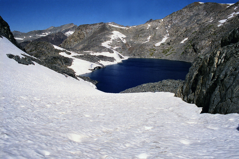 Looking down on Lake Catherine from near the bottom of the Glacier