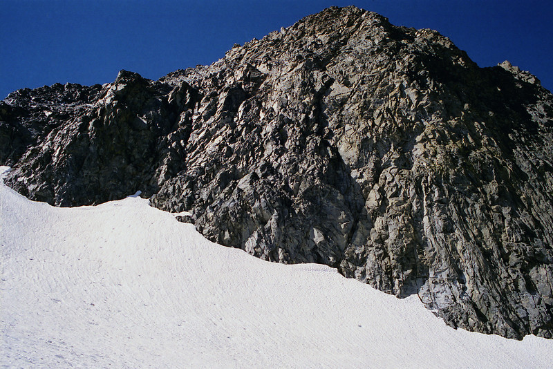 Looking up at Mt Ritter from the Glacier