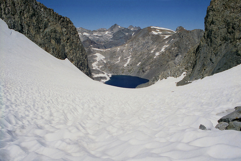 Looking down on Lake Catherine from about half way up the Glacier