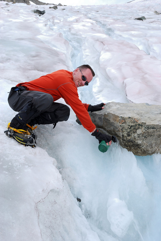 David getting some Cold Glacier Water,  Picture By Ben Zastovnick