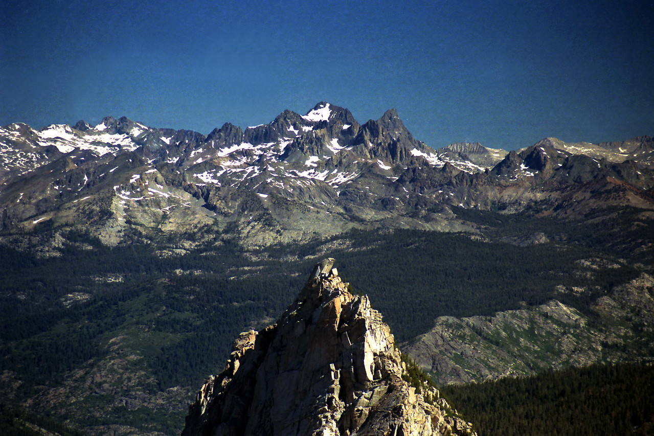 A close-up of the Cockscomb from the cone-shaped peak along Silver Divide