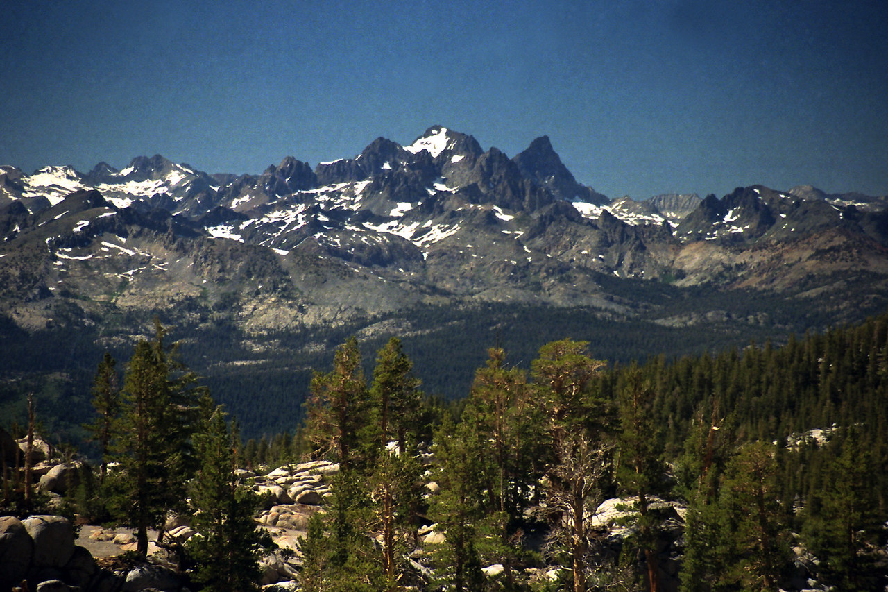 Looking towards the Mammoth Minarets, Mt Ritter, & Banner Peak from just North of Big Margaret Lake