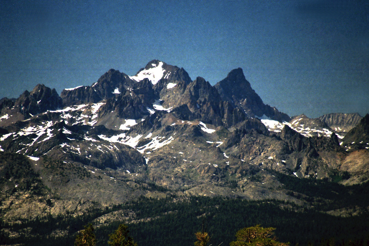 A close-up of the Mammoth Minarets, Mt Ritter, & Banner Peak from just North of Big Margaret Lake