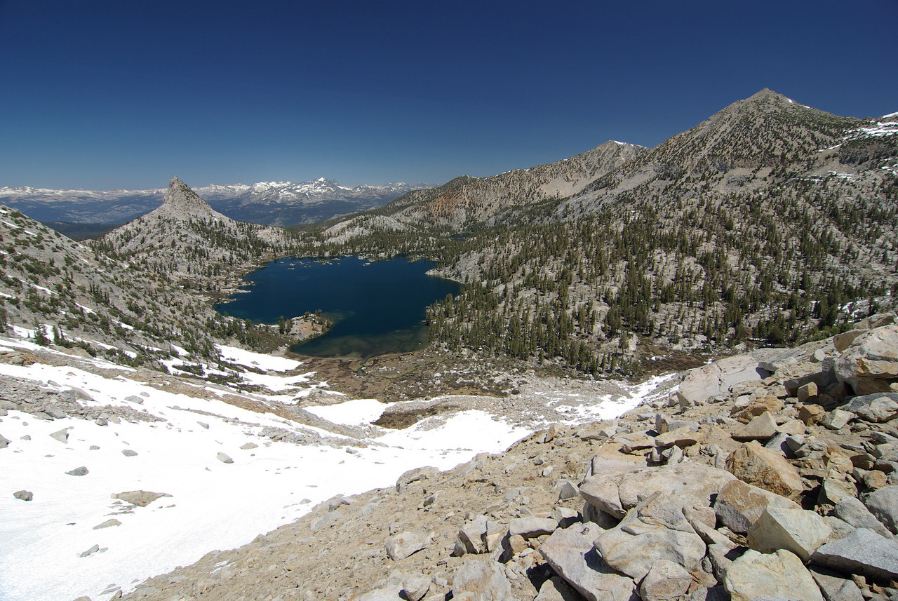Looking Down on Big Margaret Lake from about 10,600ft up Silver Divide