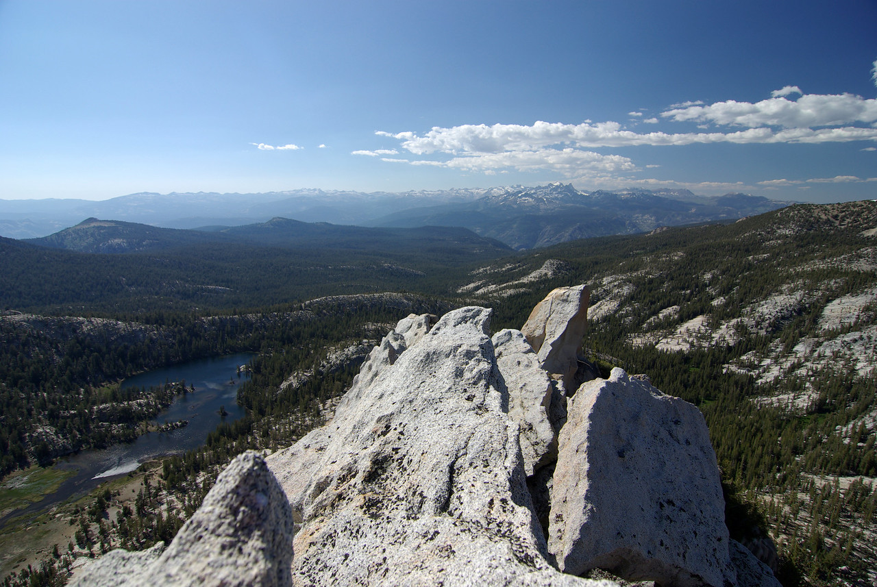 Looking NW from atop of the Cockscomb, Coyote Lake to the lower left