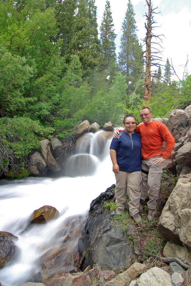 David & Veronica enjoy the Mist from the Big Pine  Creek