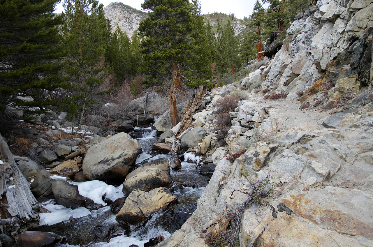 The North Fork of the Big Pine Creek just above the Second Falls.  This creek always is running with water--Glaciers keep it alive year round.