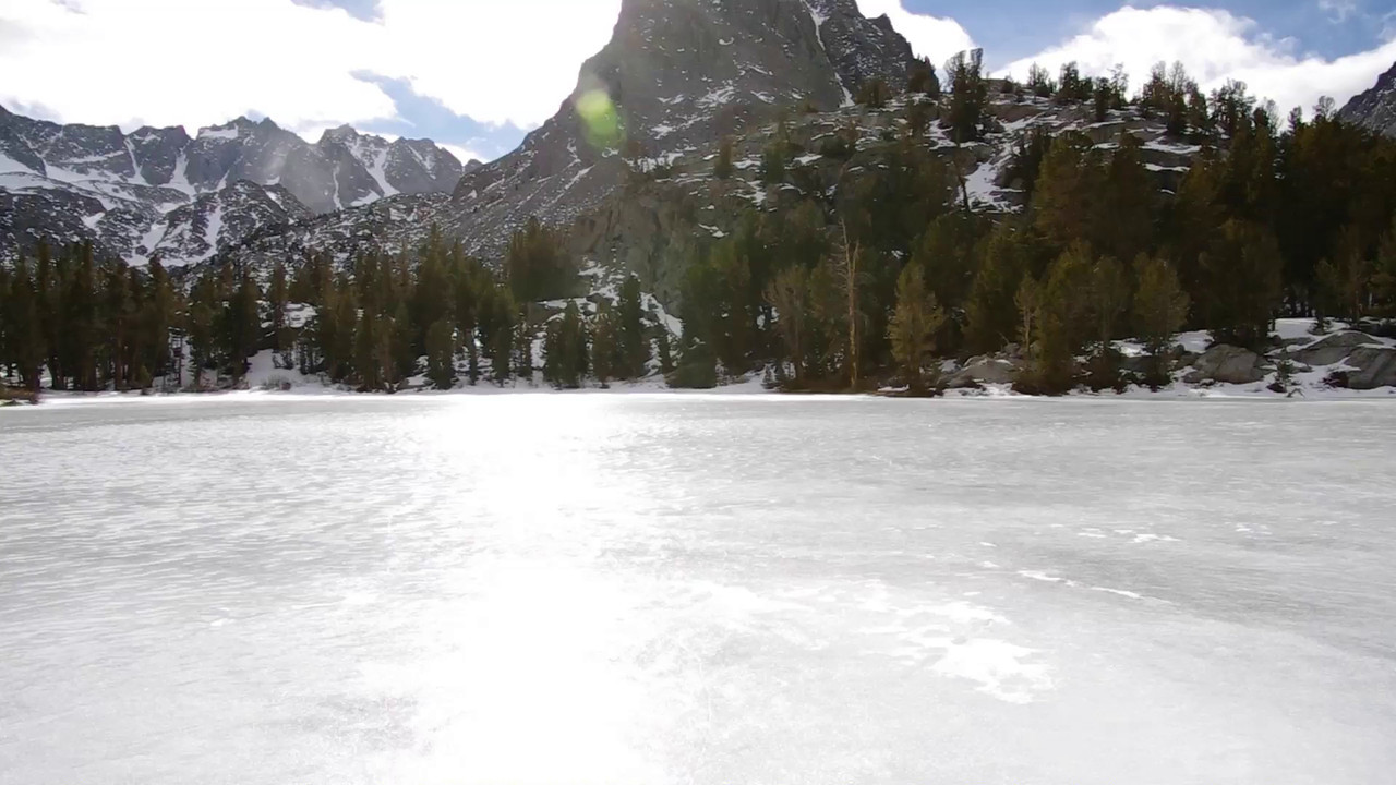 Atop of the frozen-over Fourth Big Pine Lake