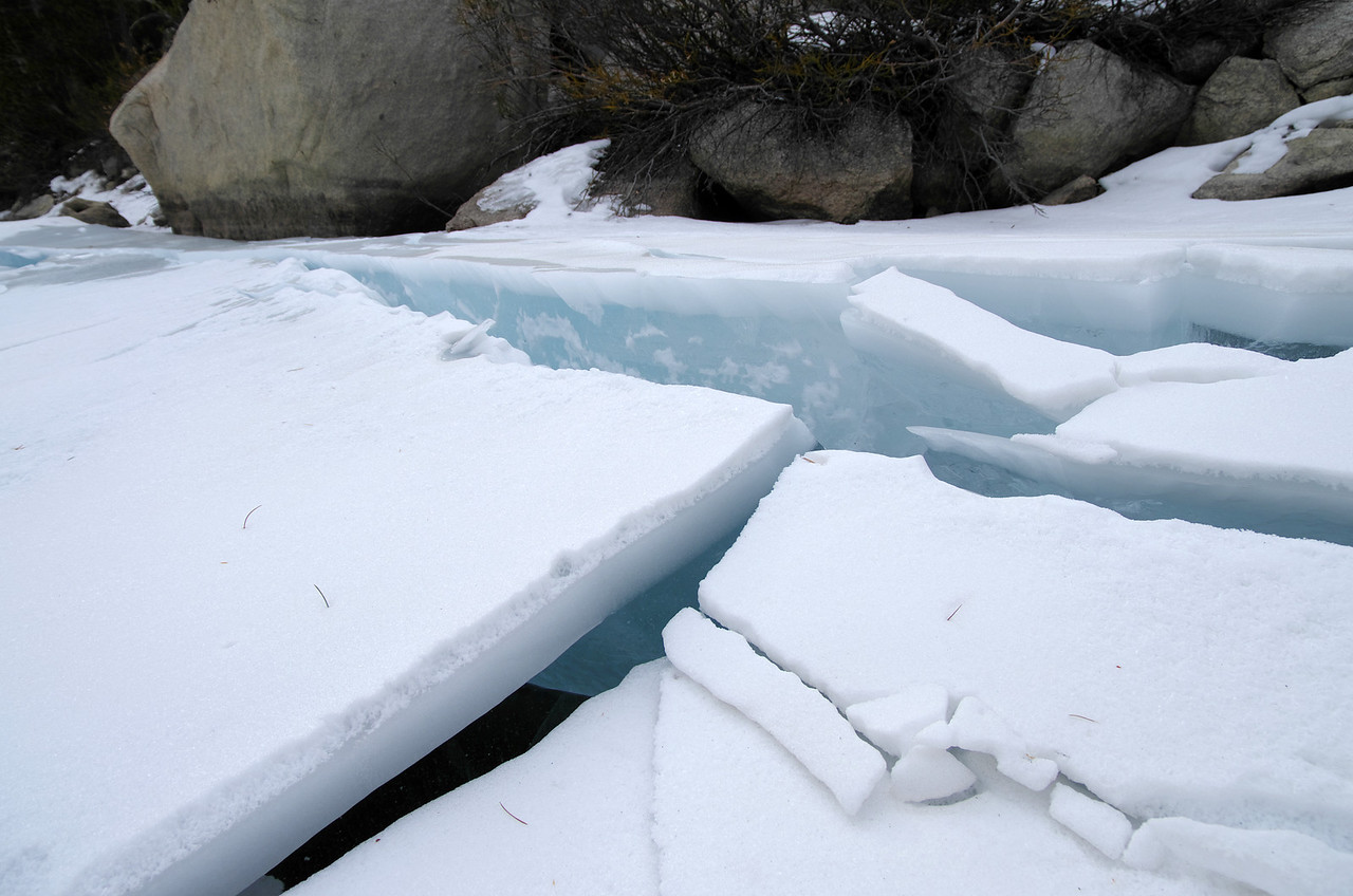 Ice carnage along the Western Shoreline of the Second Big Pine Lake.