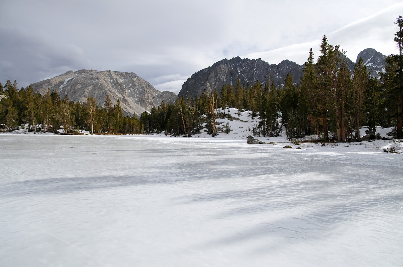 Atop of a frozen-over Forth Big Pine Lake~10,750ft.