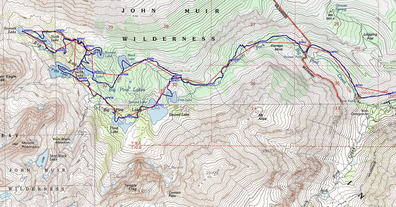 Big Pine Lakes Winter Route