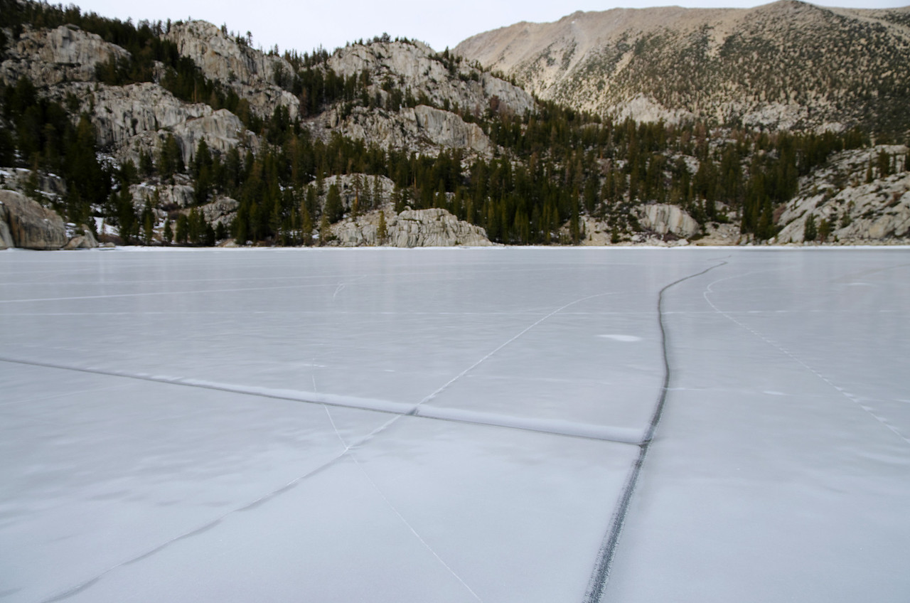 Some intersecting cracks in the ice in the Second Big Pine Lake.