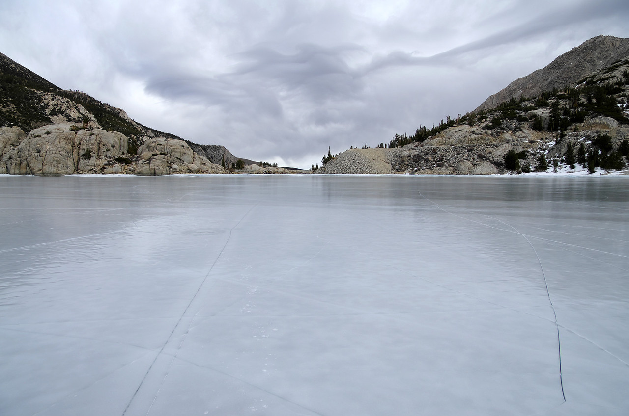Some nice views of the Cracks in the ice on the Second Big Pine Lake.