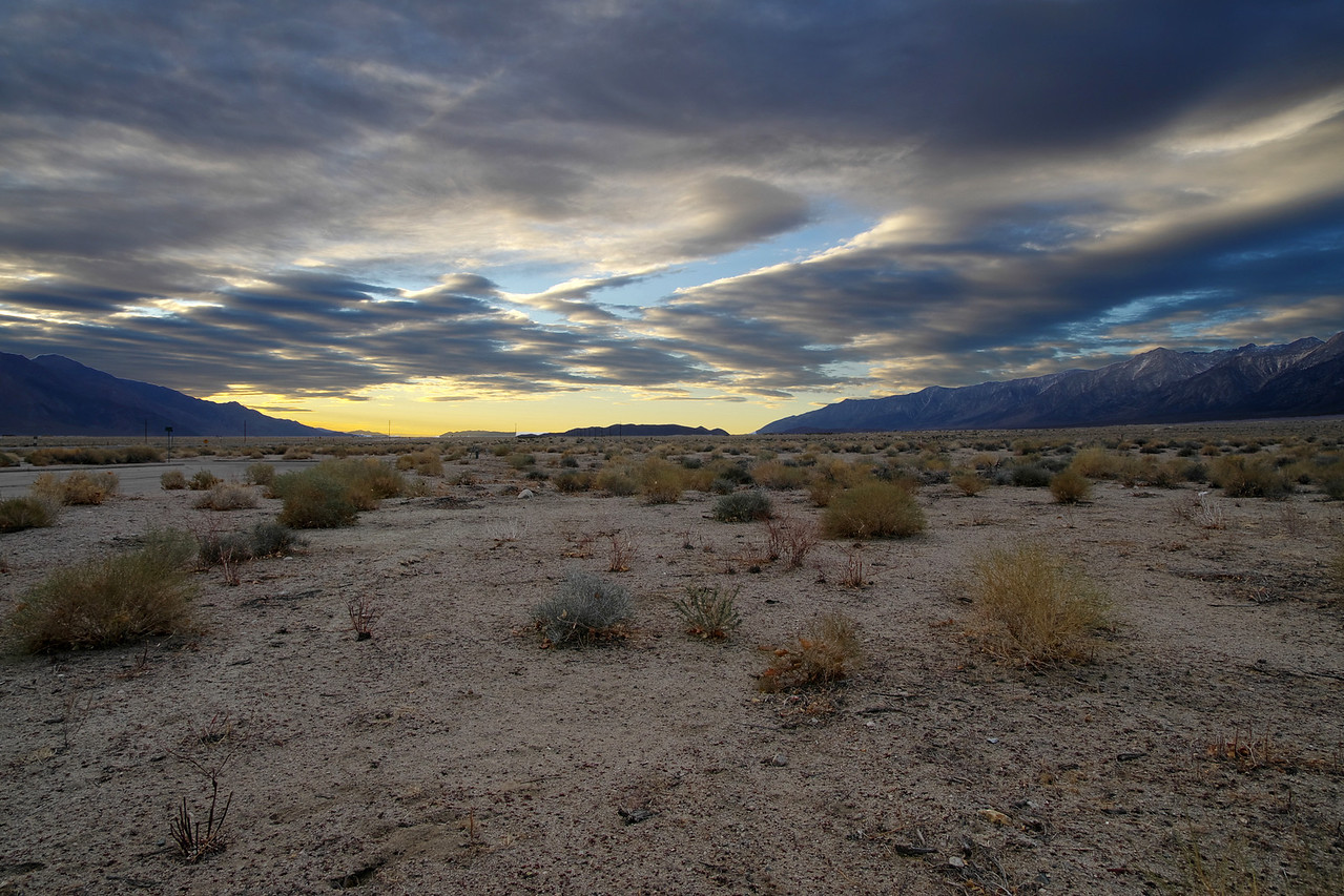 3-Layer HDR; Morning clouds above Owens Valley from the city of Independence about 15 miles north of Lone Pine.