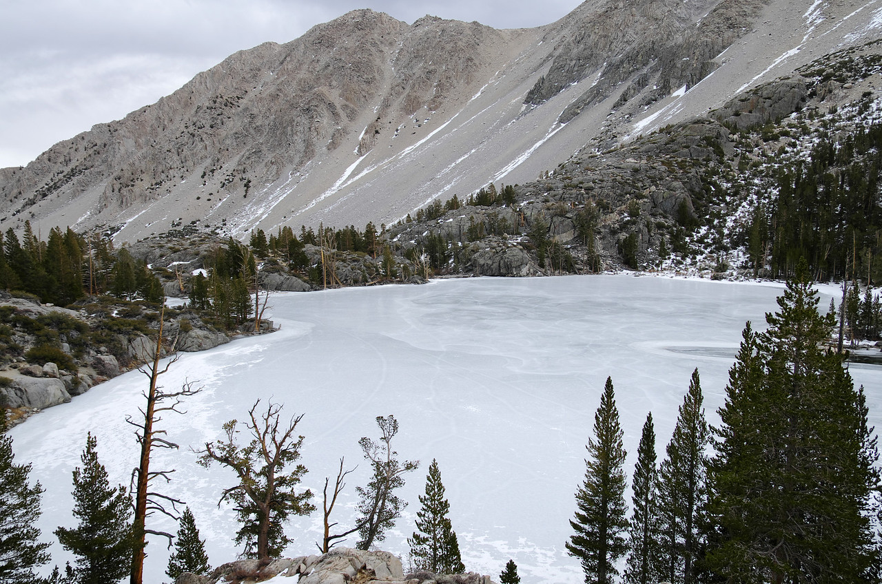 Looking down on an iced-over First Big Pine Lake~9,900ft, 10,000ft from this vantage point.
