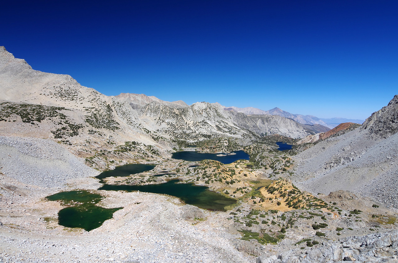 Bishop Lake, Saddlerock Lake, and Long Lake from Bishop Pass.