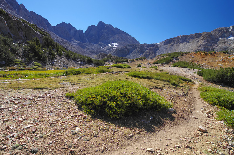 Bishop Pass comes into view just beyond Saddlerock Lake~11,200ft here.