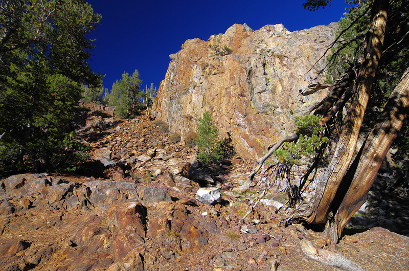 There's some colorful rock along the trail just after the Chocolate Lakes cutoff and before you get to Long Lake.