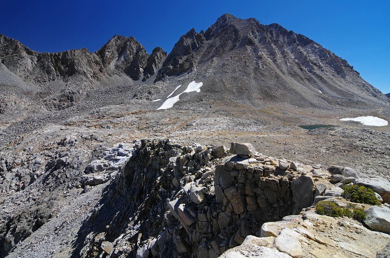 Mount Agassiz towers above Bishop Pass.  Aperture Peak in the center of the picture near the horizon.