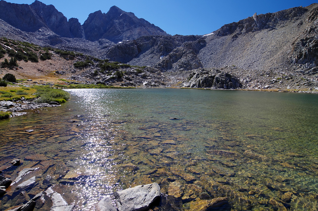 Bishop Lake with Bishop Pass in the distance.