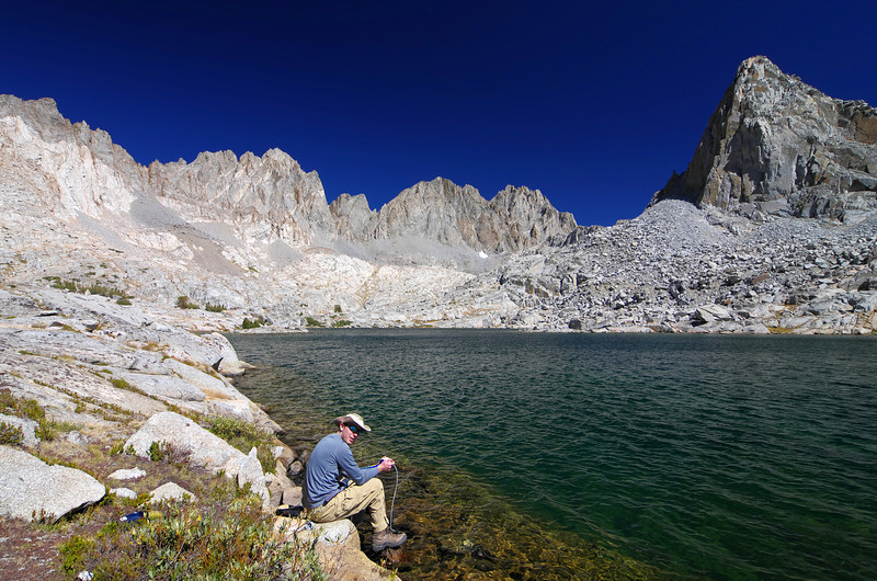 Ben and I take turns refilling our water before we start to head back towards Bishop Pass at the 2nd highest Lake in the Dusy Basin as seen here.  Isosceles Peak is in the upper right of this photo.