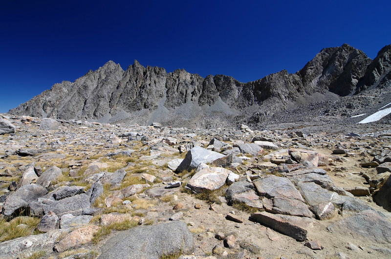 Atop of Bishop Pass from left to right; Picture Puzzle, Jigsaw Pass, and Aperture Peak.