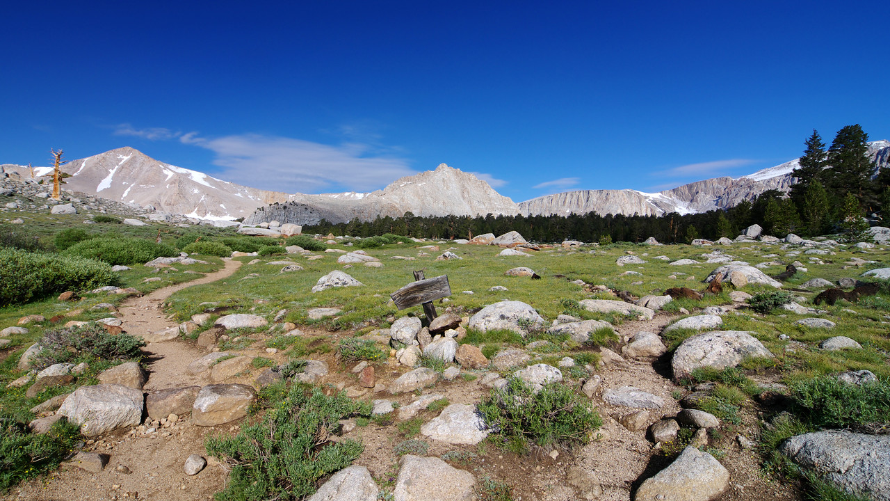 Our first view of the 11,000ft~ country that houses the Cottonwood Lakes.