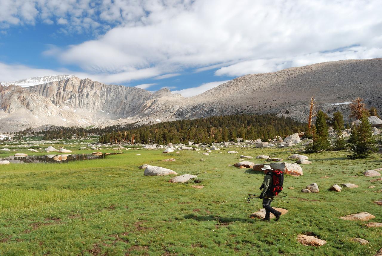 David treks across the meadow--picture by Ben Zastovnik.