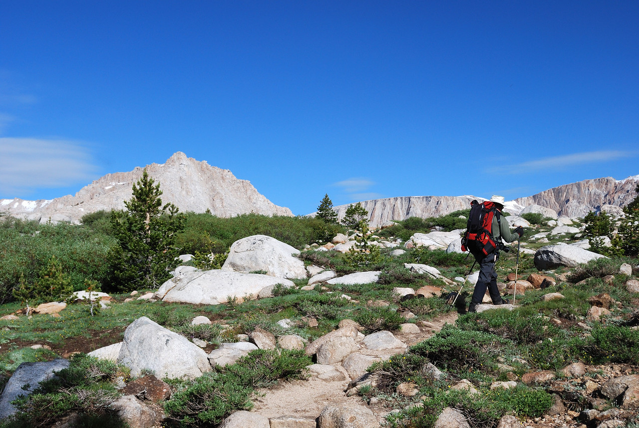 David makes his way up to the first set of Cottonwood Lakes--picture by Ben Zastovnik