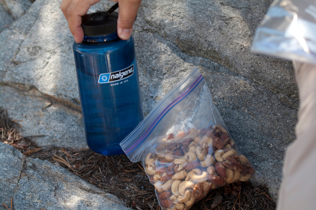Nuts & Water--Very essential components to suppress hunger until you get to your destination
