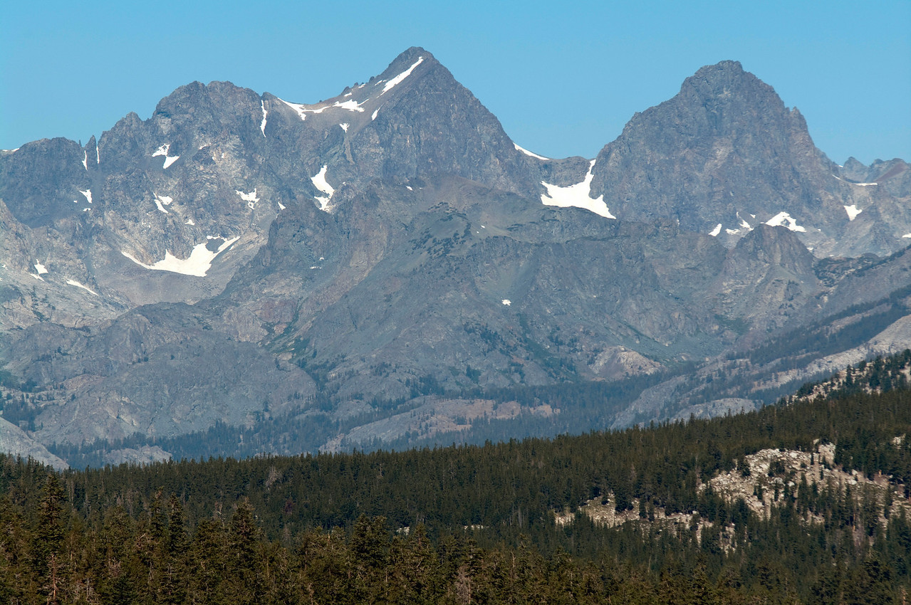 A close-up of Mt Ritter and Banner Peak from about 9,500 ft near Duck Pass Trail