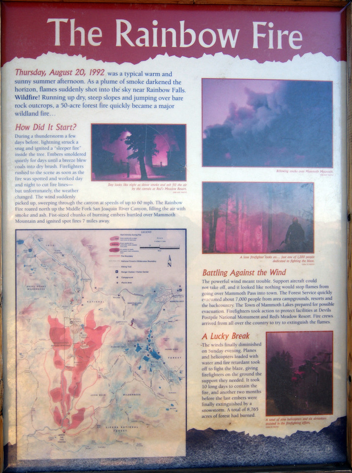 Info about the Rainbow Fire @ the Mammoth Minarets Vista