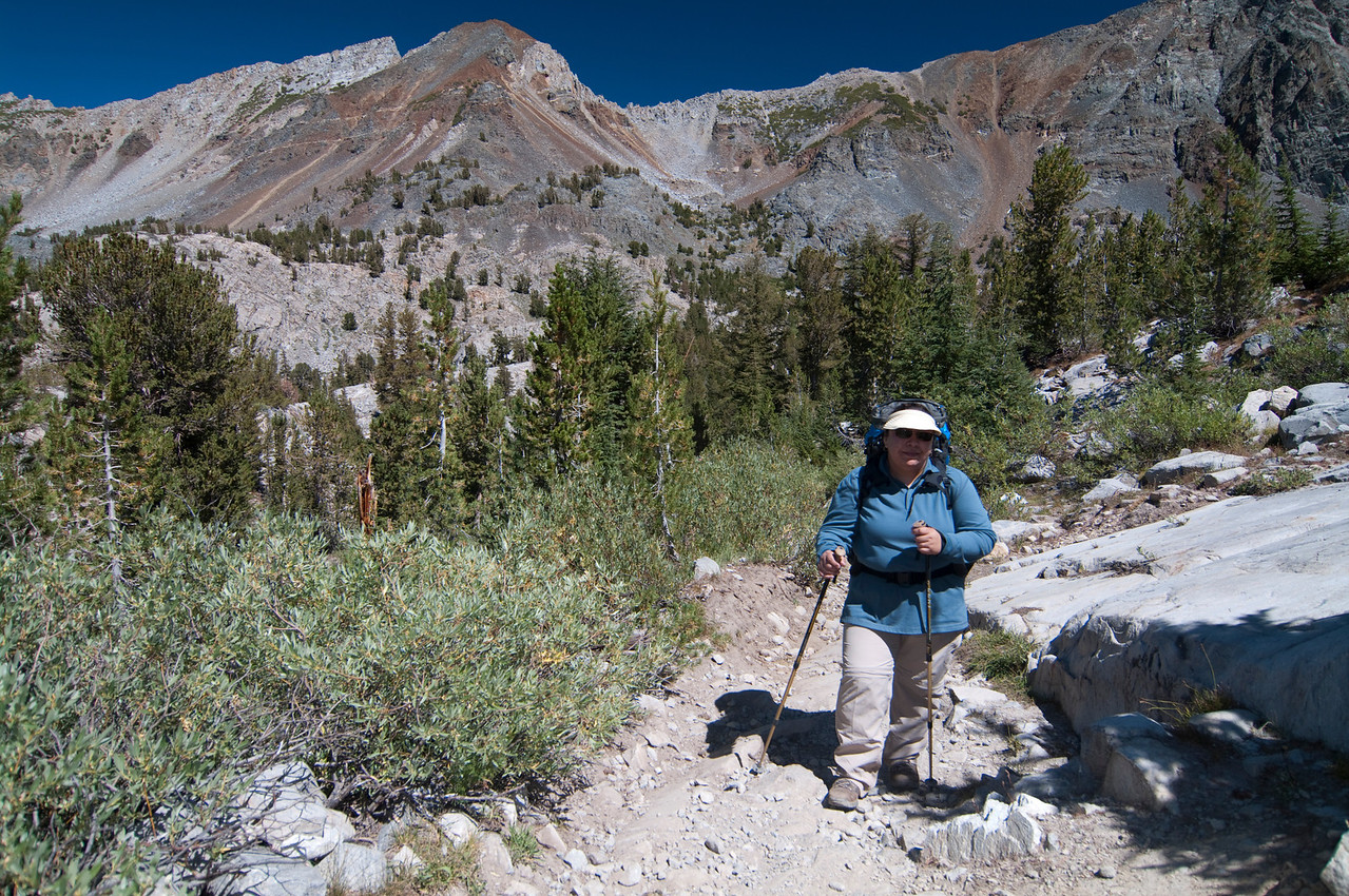 Veroncia on the last climb to Barney Lake