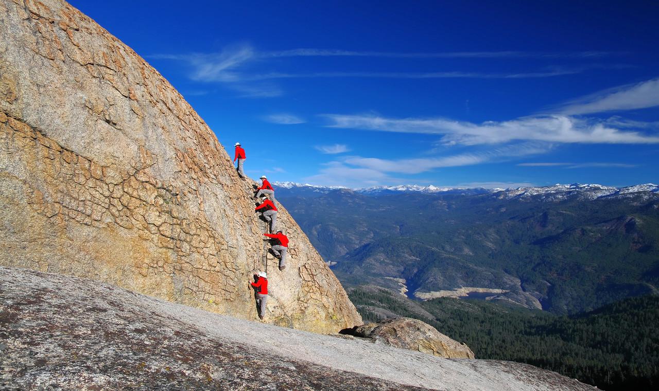 5-shots layered in Adobe CS4 to illiustrate me climbing the summit block of the lower Eagle Beak Peak.