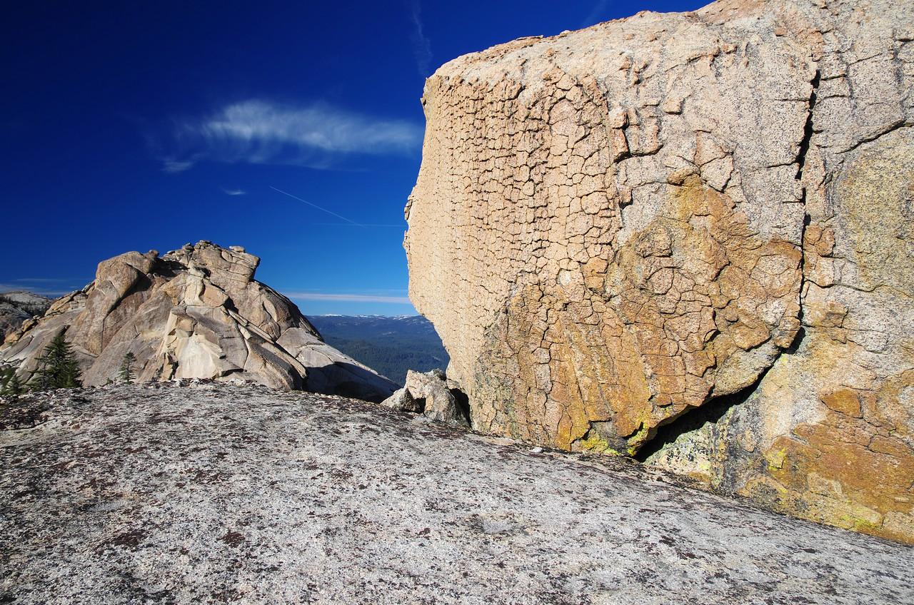 The summit block of the lower Eagle Beak Peak and the upper Eagle Beak Peak in the distance.