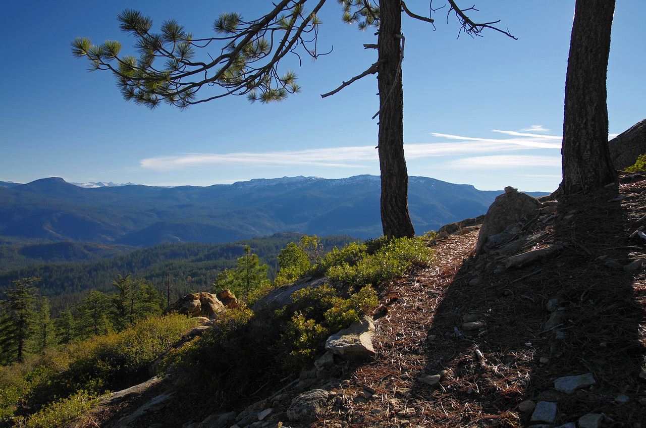 The Shuteye Pass trail east of the pass around 6,090ft.  Mount Tom in the distance and on the left of the horizon.
