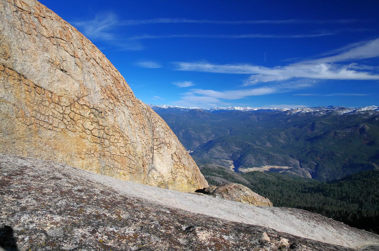 Just below the summit block of the lower Eagle Beak Peak looking NNE.  Mammoth Pool Reservoir down below.