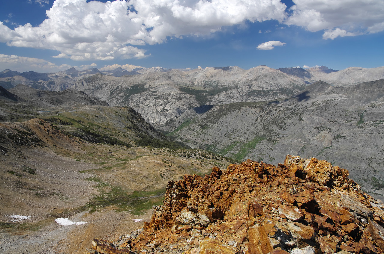 A look of the lower NE summit of Red Mtn with Goddard Canyon in the background.